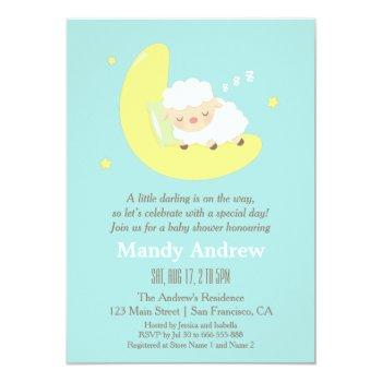 Cute Sleeping Lamb Baby Shower Party Invitations