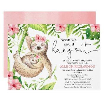 Cute Sloth Virtual Baby Shower Pink Tropical Girl Invitation