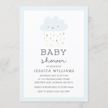 Cute Smiling Cloud Baby Shower Invitation In Blue