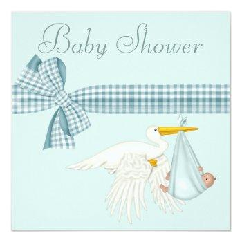 Cute Stork Delivering Baby Boy Blue Baby Shower Invitation