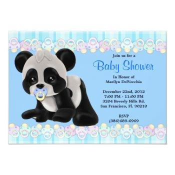 Cute Sweet Plush Baby Panda Bear Baby Shower Invitation