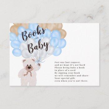 Cute Teddy Bear Blue Balloon Books For Baby Enclosure Card