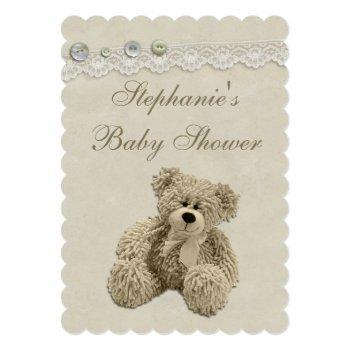 Cute Teddy Bear Vintage Lace Baby Shower Invitation