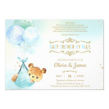 Cute Teddy Bear Virtual Baby Shower By Mail Boy Invitation