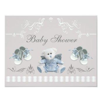 Cute Teddy & Shoes Baby Shower Invitation