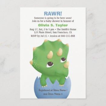 Cute Triceratops Dinosaur Baby Shower Invitations