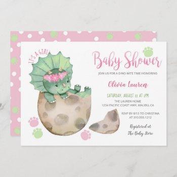 Cute Triceratops Dinosaur Tracks Girl Baby Shower Invitation