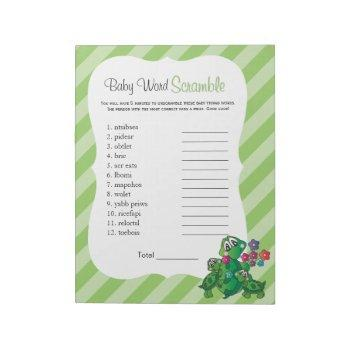 Cute Turtle Baby Shower Word Game Notepad