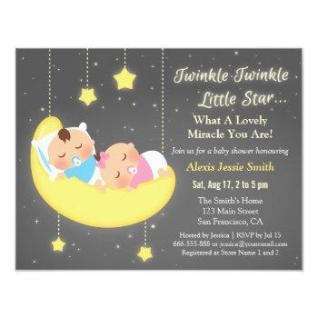 Cute Twinkle Twinkle Little Star Twins Baby Shower Invitation