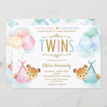 Cute Twins Baby Girl Boy Teddy Bears Baby Shower Invitation