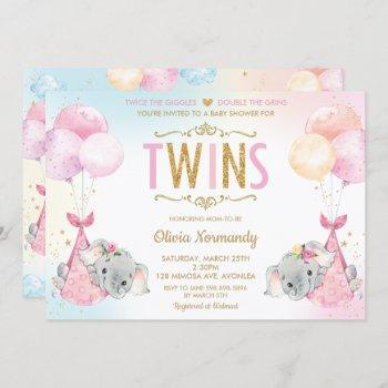 Cute Twins Girls Elephant Baby Shower Sprinkle Invitation