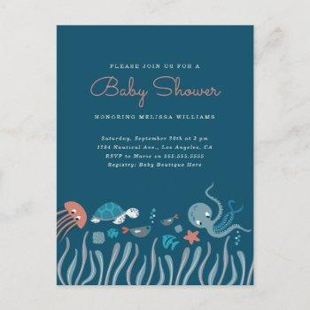 Cute Under The Sea Ocean Critters Baby Shower Invitation Postcard