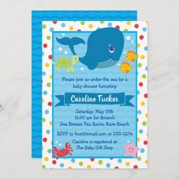 Cute Under The Sea Whale Ocean Baby Shower Invitation
