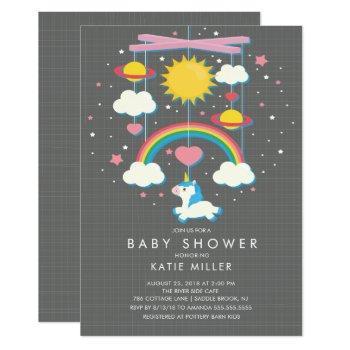 Cute Unicorn Mobile Baby Shower Invitation