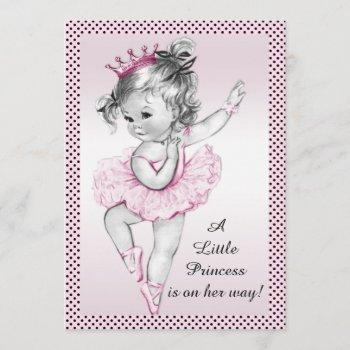 Cute Vintage Ballerina Princess Baby Shower Invitation