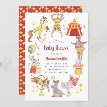 Cute Watercolor Carnival Circus Animal Baby Shower