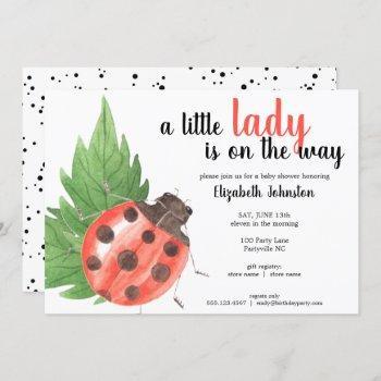 Cute Watercolor Ladybug Baby Shower Invitation