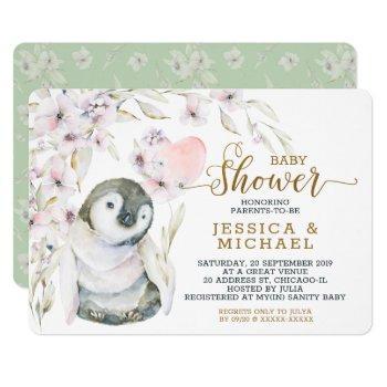 Cute Watercolor Penguin Gender Neutral Baby Shower Invitation