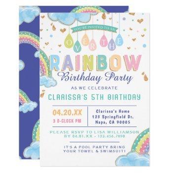 Cute Watercolor Rainbow Birthday Party Invitation