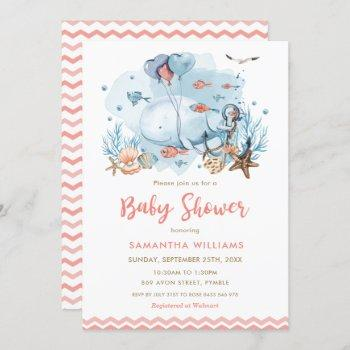 Cute Whale Under The Sea Coral Girl Baby Shower