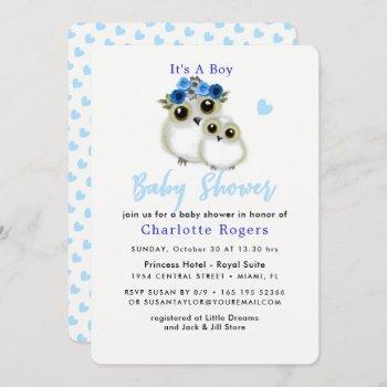 Cute Whimsy Fluffy Owl Blue Heart Baby Boy Shower