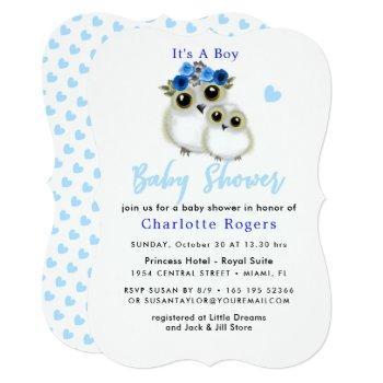 Cute Whimsy Fluffy Owl Blue Heart Baby Boy Shower Invitation