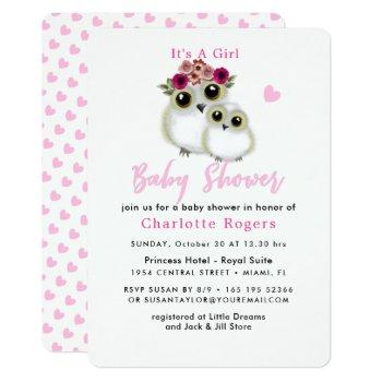Cute Whimsy Fluffy Owl Pink Heart Baby Girl Shower Invitation