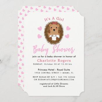 Cute Whimsy Hedgehog Pink Heart Baby Girl Shower Invitation