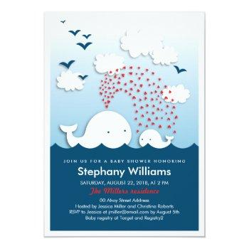 Cute White Whales Stylish Baby Shower Invite