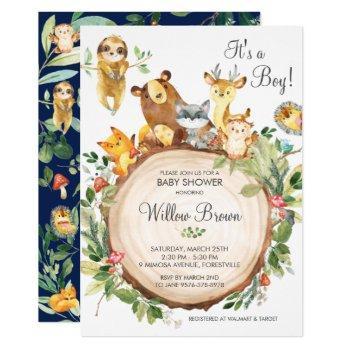 Cute Woodland Animals Baby Shower Boy Neutral Invitation