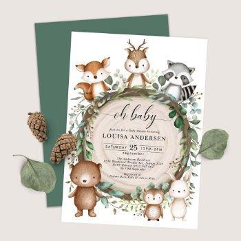 Cute Woodland Animals Rustic Greenery Baby Shower