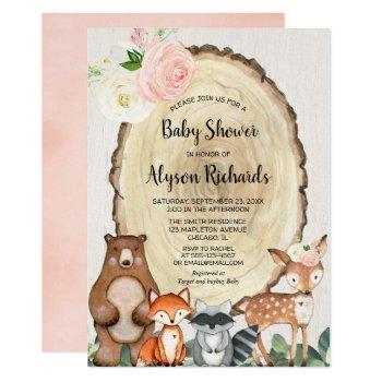 Cute Woodland Blush Pink Greenery Girl Baby Shower Invitation