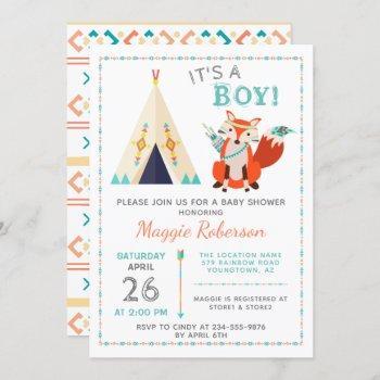 Cute Woodland Fox Boho Teepee Boy Baby Shower Invitation
