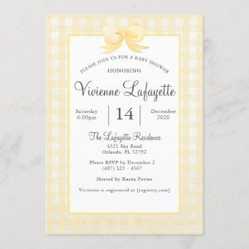 Cute Yellow Gingham With Bow Baby Shower