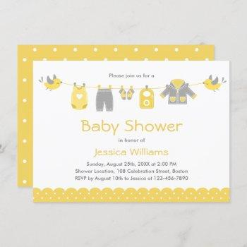 Cute Yellow Gray Clothes | Neutral Baby Shower Invitation