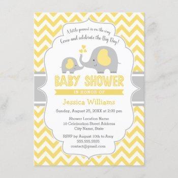 Cute Yellow Gray Elephant Neutral Baby Shower Invitation