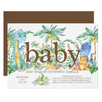 Cutedinosaur Gender Neutral Baby Shower Invitation