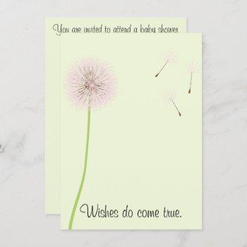 Dandelion Wishes For A Baby Shower In Pinks Invitation