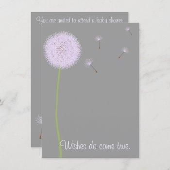 Dandelion Wishes For A Baby Shower In Purples Invitation