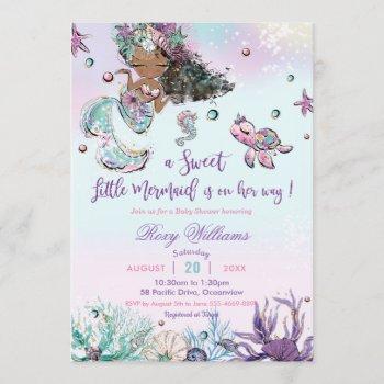 Dark Skin Mermaid Baby Shower Under The Sea Girl Invitation