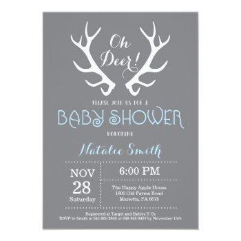 Deer Antler Baby Shower Invitation Gray And Blue