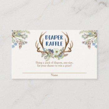 Deer Antlers Rustic Baby Shower Diaper Raffle Card