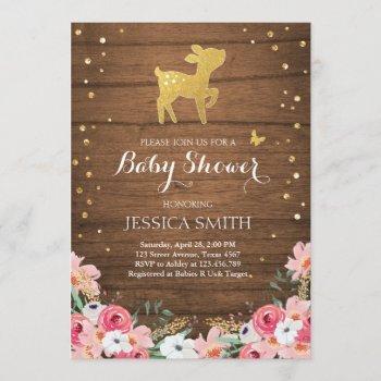 Deer Baby Shower Invite Woodland Girl Floral Wood
