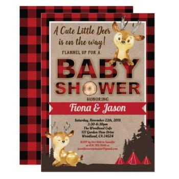 Deer Baby Shower Lumberjack Couples Baby Shower Invitation