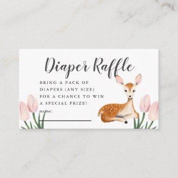 Deer Baby Shower Pink Diaper Raffle Ticket Enclosure Card