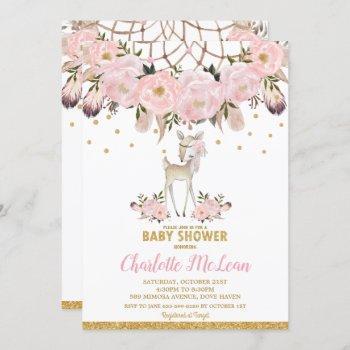 Deer Floral Dream Catcher Baby Shower Boho Girl Invitation