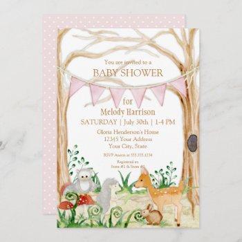 Deer Fox Cute Animal Rabbit Owl Forest Baby Shower Invitation