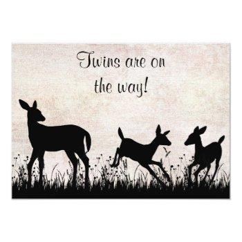 Deer In Meadow Twins Baby Shower Invitation