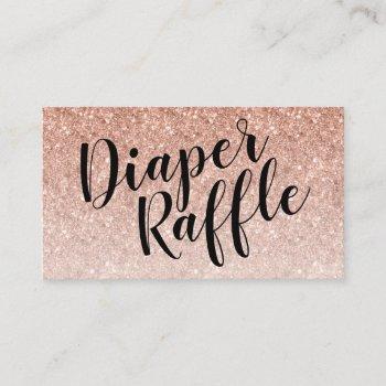 Diaper Raffle Ticket, Black Script | Rosegold Enclosure Card