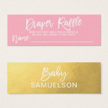 Diaper Raffle Ticket Pink Faux Gold Baby Shower